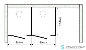 Сантехнические Перегородки 16мм из ЛДСП – 2 кабины